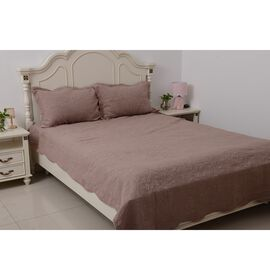 Stone Washed King Size Fully Embroidered Quilt Set with 2 Pillow Shams in Dusky Rose Colour  (240x26