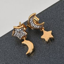 GP Celestial Dream Collection - Natural Cambodian Zircon and Kanchanaburi Blue Sapphire Moon and Star Earring in 14K Gold Overlay Sterling Silver