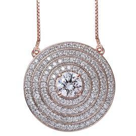 Limited Edition-J Francis - Rose Gold Overlay Sterling Silver (Rnd) Adjustable Necklace (Size 18) Made with SWAROVSKI ZIRCONIA, Number of Swarovski 123 Silver wt 11.87 Gms.