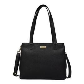 ASSOTS LONDON Genuine Pebble Grain Leather Double Compartment Shoulder Handbag