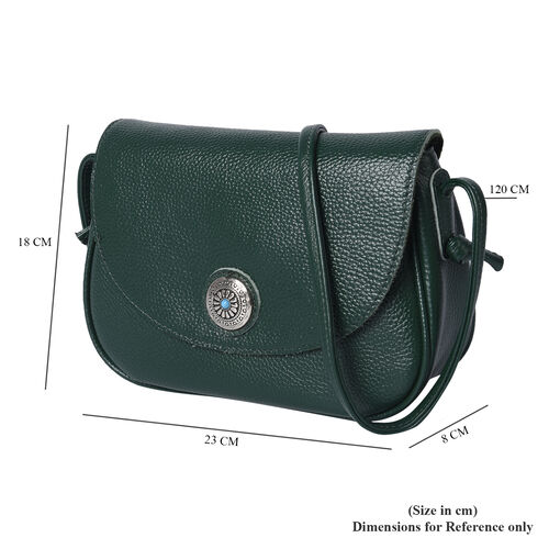 100% Genuine Leather Middle Size Litchi Pattern Crossbody Bag (Size 23x8x18cm) - Green