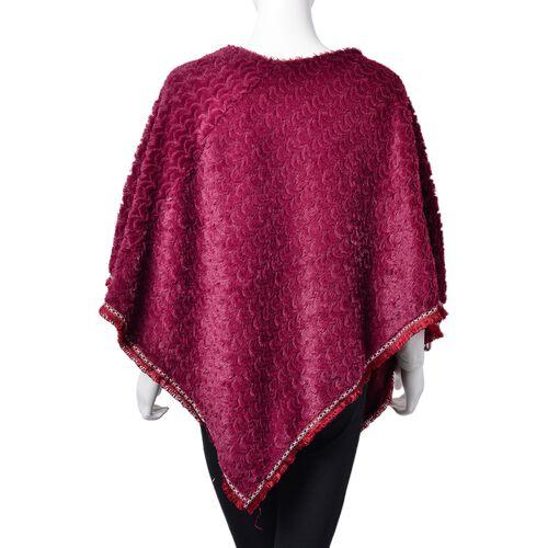 Red Colour Faux Fur Poncho with Multi Colour Lace Border (Size 94X80 Cm)