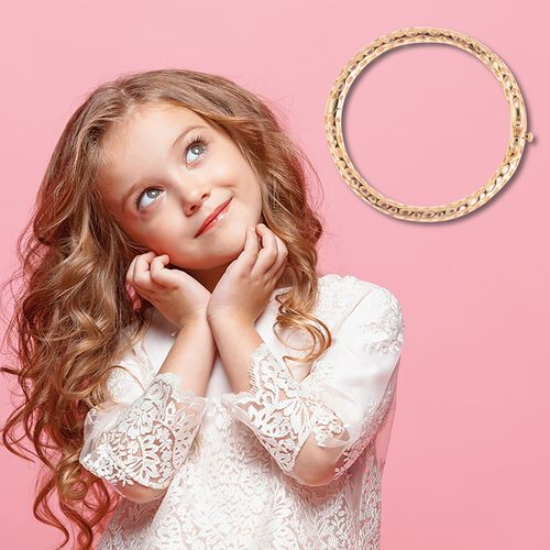 RACHEL GALLEY Yellow Gold Overlay Sterling Silver Allegro Kids Bangle (Size 4.95)