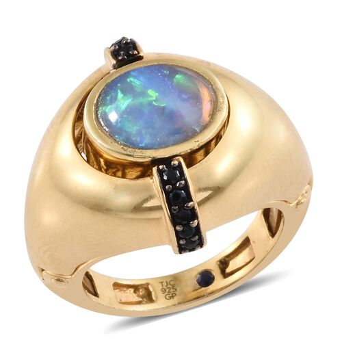 GP Ethiopian Welo Opal (Ovl 1.50 Ct), Boi Ploi Black Spinel and Kanchanaburi Blue Sapphire Ring in Black Rhodium and 14K Gold Overlay Sterling Silver 2.500 Ct. Silver wt. 11.24 Gms.