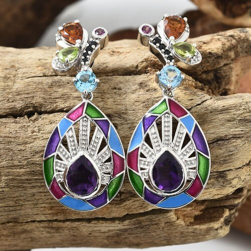 Amethyst (Pear), Blue Topaz and Multi Colour Gemstone Earrings with Push Back in Platinum with Enameled Overlay Sterling Silver 6.750 Ct, Silver wt 14.33 Gms.