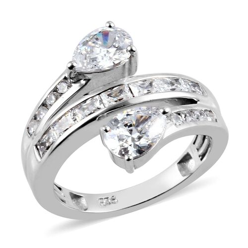 J Francis Made with SWAROVSKI ZIRCONIA Cross Over Ring in Platinum plated Sterling Silver