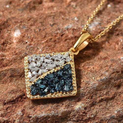 Blue and White Diamond (Rnd and Bgt) Pendant With Chain (Size 20) in 14K Gold Overlay with Blue Plating Sterling Silver 0.330 Ct.