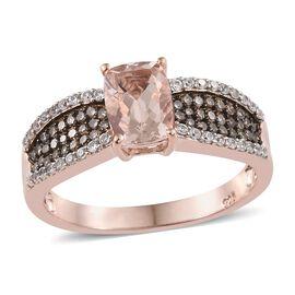 Marropino Morganite (Cush 1.35 Ct), Natural Champagne Diamond and Natural Cambodian Zircon Ring in R