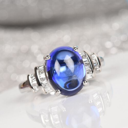 HeirLoom Collection-RHAPSODY 950 Platinum AAAA Tanzanite and Diamond (VS/E-F) Ring 5.25 Ct, Platinum wt 5.60 Gms