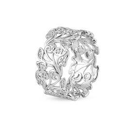 MP Designer Inspired- Diamond (Rnd) Leaf Ring in Platinum Overlay Sterling Silver