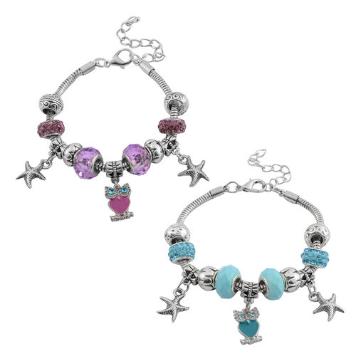 Set of 2 - Blue and Purple Colour Crystal  Bracelet (Size 7 with 2 Inch Extender ) with Charms in Silver Bond