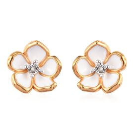 Designer inspired - Diamond (Rnd) Floral Enamelled Earrings (with Push Back) in 14K Gold Overlay Ste
