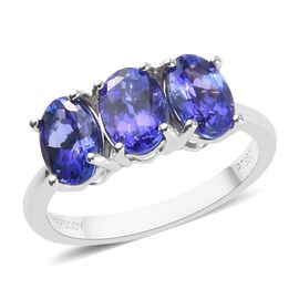 RHAPSODY 2.50 Ct AAAA Tanzanite Trilogy Ring in 950 Platinum 3.91 Grams