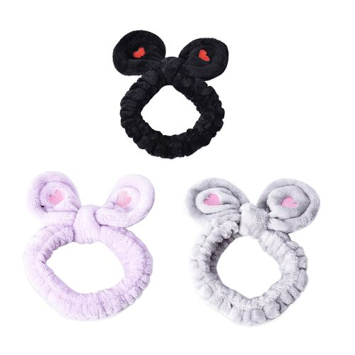 3 Piece Set - Lovely Bowknot Design Headband Non-Stretchable in Heart Pattern (Dia 14 Cm) - Black, G