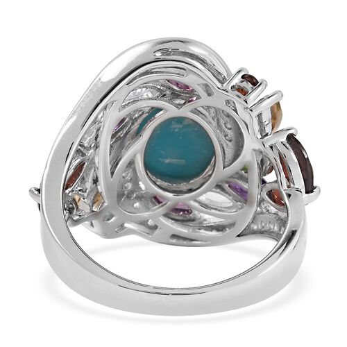 Turquoise (Ovl), Multi Gemstone Floral Marvelous Ring in Rhodium Overlay Sterling Silver 4.887 Ct, Silver wt 5.14 Gms.