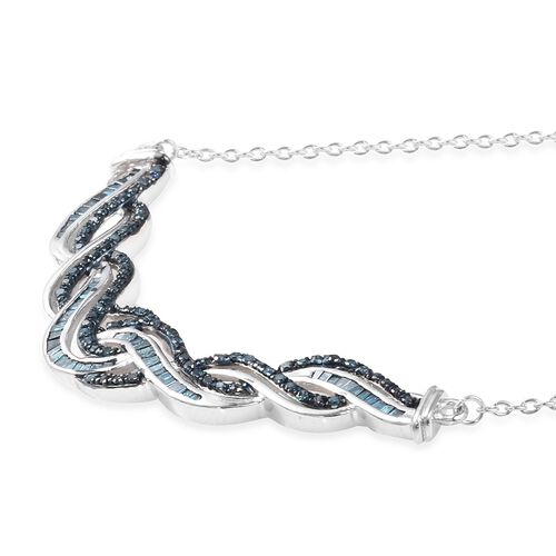 Blue Diamond (Rnd and Bgt) Wave Necklace (Size 18) in Platinum Overlay Sterling Silver 1.00 Ct, Silver wt 7.15 Gms