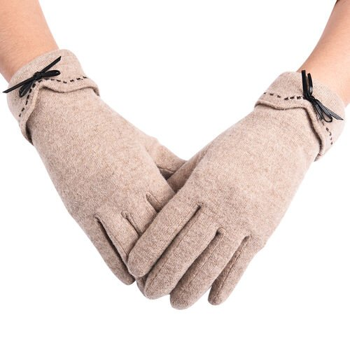 Super Soft Winter Cashmere Gloves with Bowknot - Khaki