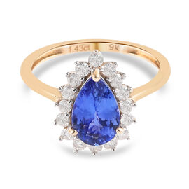 9K Yellow Gold Tanzanite and White Diamond Pear Halo Ring 1.64 Ct.