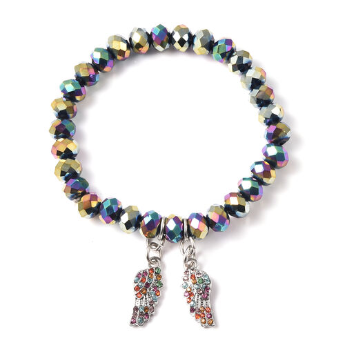 Simulated Mystic Topaz and Multi Colour Austrian Crystal Angel-Wing Charm Stretchable Bracelet (Size