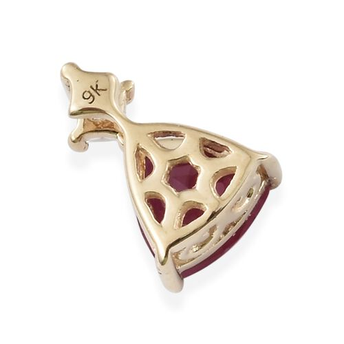 0.85 Ct AA African Ruby and Natural Cambodian Zircon Pendant in 9K Gold