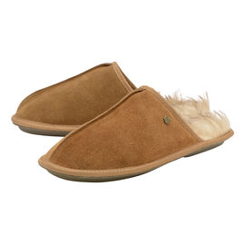 Dunlop Real Suede Memory Foam Fur Lined Mule Slippers in Tan Colour