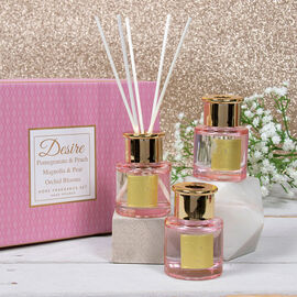 Lesser & Pavey - Set of 3 Desire Diffuser Set - Pink - Pomegranate & Peach, Magnolia & Pear, Orchid