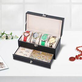 Two-Tier Jewellery Box with Padded Watch Slots (22.3x10.7x11cm) - Black
