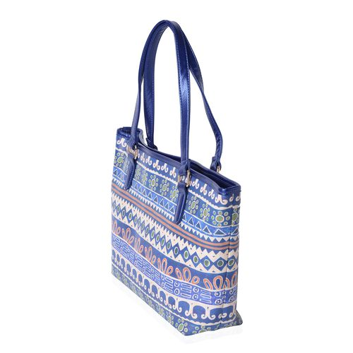 Off White, Orange, Blue and Multi Colour Santa Fe Pattern Tote Bag (Size 45x31x28x11 Cm)