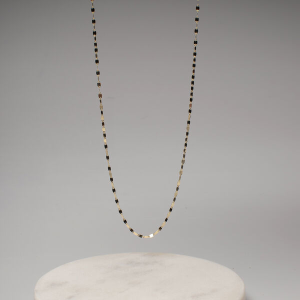 Italian Made - 9K Yellow Gold Forzatina Sparkle Necklace (Size 18) with Spring Clasp