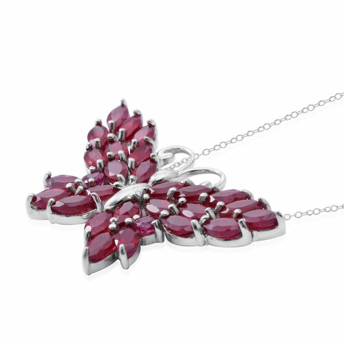 African Ruby (Mrq), Burmese Ruby Butterfly Necklace (Size 18) in Rhodium Plated Sterling Silver 9.150 Ct. Silver wt 5.00 Gms.