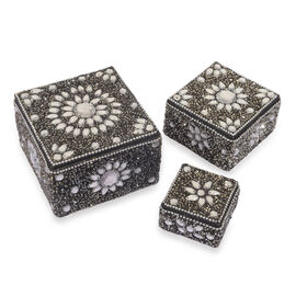 Set of 3 - Beads Embellished Black Colour Square Shape Jewellery Box (Size 10X7, 8X5 and 5.5X3 Cm)