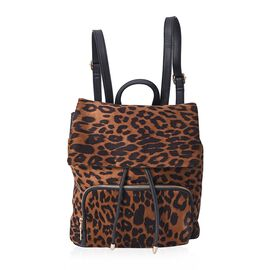 Leopard Pattern Velvet Backpack with Magnetic, Drawstrings and Flap Closure (Size 27x31x12 Cm) - Bro