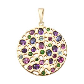 Amethyst, Rhodolite Garnet and Multi Gemstone Cluster Pendant in 14K Gold Overlay Sterling Silver 6.