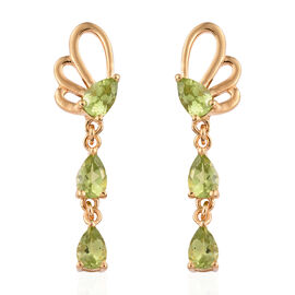 Hebei Peridot (Pear) Butterfly Earrings (with Push Back) in 14K Gold Overlay Sterling Silver 2.750 C