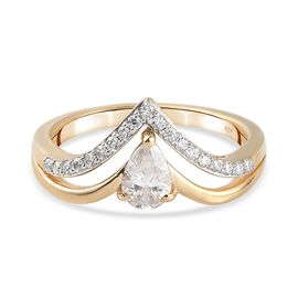 Moissanite Ring in 14K Gold Overlay Sterling Silver