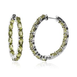 Hebei Peridot (Ovl) Hoop Earrings (with Clasp) in Platinum Overlay Sterling Silver 6.50 Ct, Silver w