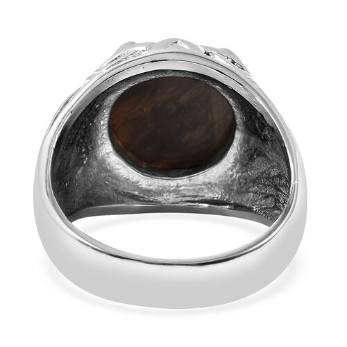 Yellow Tiger's Eye  Ring Pure White Stainless Steel  0.01 ct  0.010  Ct.