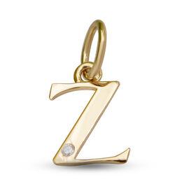 9K Yellow Gold Diamond Initial Z Pendant
