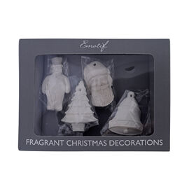 Set of 4 Christmas Decorations White