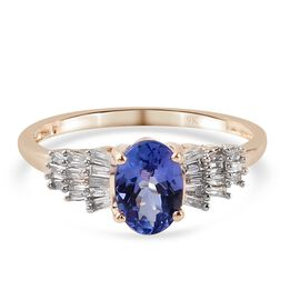 9K Yellow Gold Tanzanite and Diamond Ring 1.020 Ct.