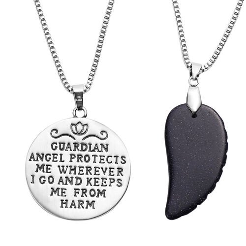 2  Piece Set - Blue Sandstone Angel Pendant with Chain (Size 24 with 2 inch Extender) in Stainless Steel 41.30 Ct.