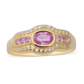 Pink Sapphire and Natural Cambodian Zircon Ring in Yellow Gold Overlay Sterling Silver 1.05 Ct.