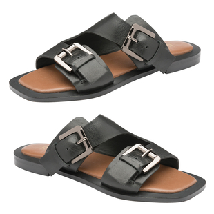 RAVEL Kintore Double Buckle Strap Leather Sandal (Size 3) - Black