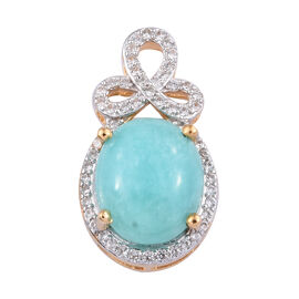 5 Carat Peruvian Amazonite and Cambodian Zircon Halo Pendant in Gold Plated Sterling Silver