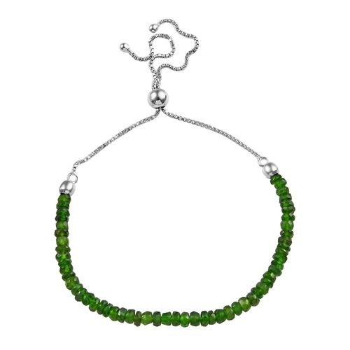 13.09 Ct Russian Diopside Beaded Adjustable Bracelet in Rhodium Plated Silver 6.5 to 10 Inch