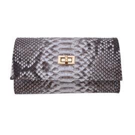 LA MAREY 100% Genuine Python Leather Crossbody Wallet (Size 20x10x5cm) - Beige & Multi
