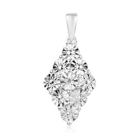 Diamond Cluster Pendant in Sterling Silver 2.85 Grams