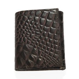 100% Genuine Leather Croc Embossed RFID Protected Trifold Unisex Wallet (Size 23x10 Cm) - Plum Brown
