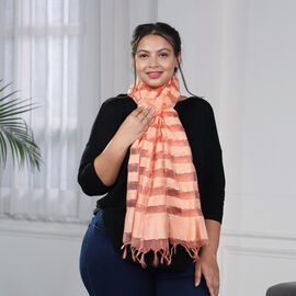 JOVIE - New Season Handmade Scarf with Fringes in Peach (Size 76x235cm)
