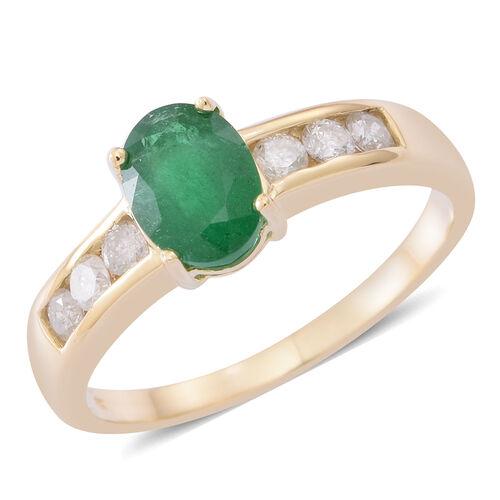 9K Y Gold AAA Kagem Zambian Emerald (Ovl 1.15 Ct), Diamond (I3/G-H) Ring 1.500 Ct.